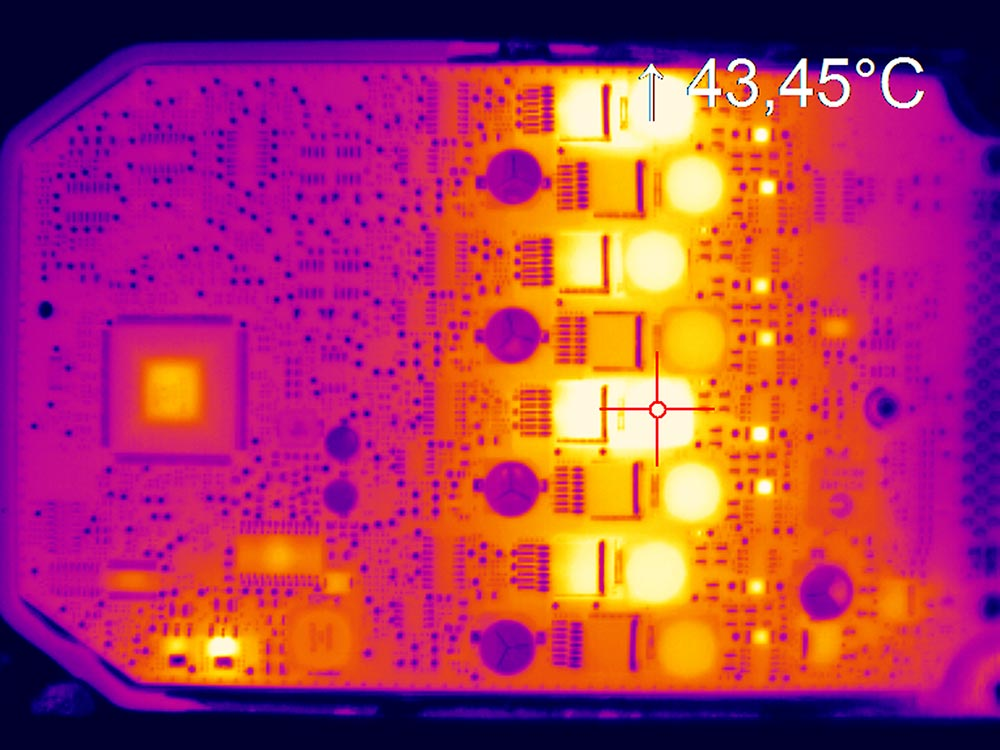Thermal image PCB captured with IR camera optris PI 640